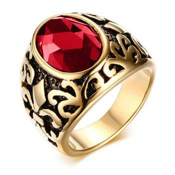 Chic Alloy Engraved Faux Gem Ring For Men