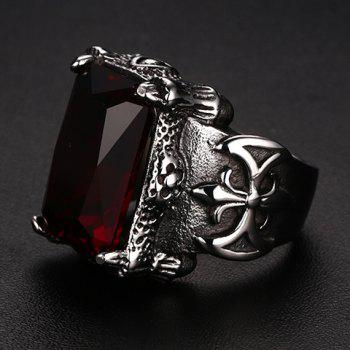 Delicate Titanium Steel Faux Ruby Ring For Men - RED ONE-SIZE