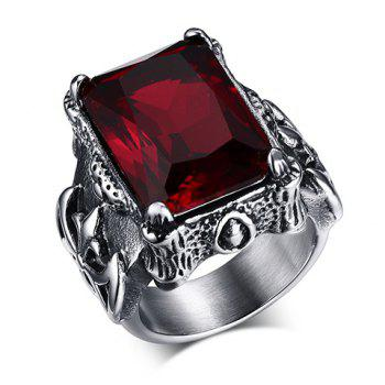 Delicate Titanium Steel Faux Ruby Ring For Men