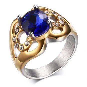Rhinestone Faux Sapphire Hollow Out Ring