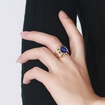 Rhinestone Faux Sapphire Hollow Out Ring - BLUE ONE-SIZE