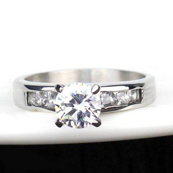 Titanium Steel Rhinestone Rings For Lover - SILVER ONE-SIZE