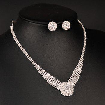 A Suit of Rhinestoned Flower Necklace and Earrings - SILVER