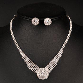 A Suit of Rhinestoned Flower Necklace and Earrings