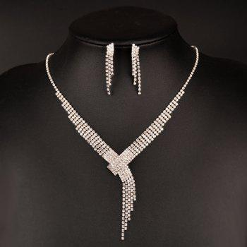 A Suit of Rhinestoned Tassel Necklace and Earrings