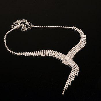 A Suit of Rhinestoned Tassel Necklace and Earrings - SILVER