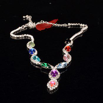 A Suit of Faux Gem Rhinestone Oval Necklace and Earrings - COLORMIX