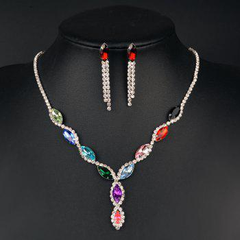A Suit of Faux Gem Rhinestone Oval Necklace and Earrings