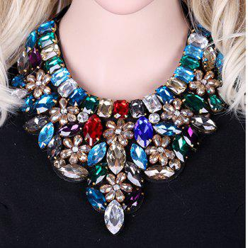 Floral Faux Crystal Bowknot Necklace - COLORMIX
