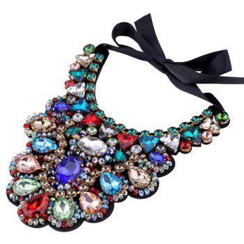Water Drop Faux Crystal Bowknot Necklace - COLORMIX
