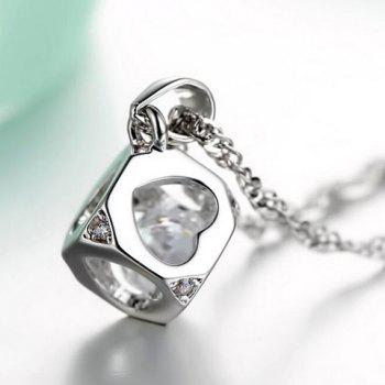 Hollow Out Heart Rhinestone Pendant Necklace - SILVER
