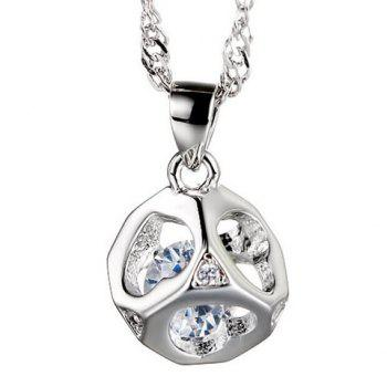 Hollow Out Heart Rhinestone Pendant Necklace