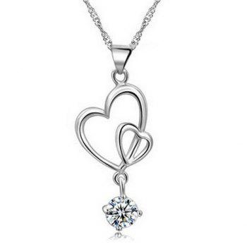 Interlink Heart Rhinestone Pendant Necklace