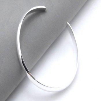 Polished Alloy Cuff Bracelet - SILVER