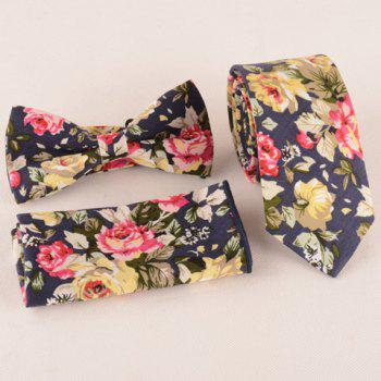 One Set Fashion Flower Leaf Pattern Purplish Blue Tie Handkercheif and Bow Tie