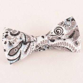 One Set Fashion Coffee Color Paisley Pattern Tie Handkercheif and Bow Tie - COFFEE