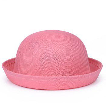 Chic Round Top Solid Color Flanging Women's Breathable Fedoras