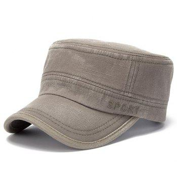 Buy Stylish Letters Embroidery Flat Top Men's Military Hat SAGE GREEN