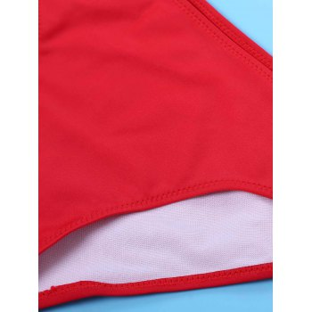 Sexy Halter Red Cut Out Bikini SuitFor Women - RED S