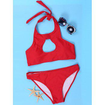 Sexy Halter Red Cut Out Bikini SuitFor Women