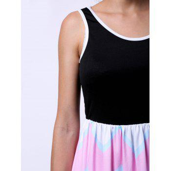 Trendy Sleeveless Scoop Neck Colorful Zig Zag Dress For Women - COLORMIX S