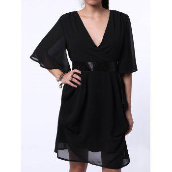 Trendy Plunging Neck Bell Neck Chiffon Sequined Dress For Women