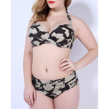 Femmes Attractive  's Plus Size Halter Neck Printed Bikini - gris 3XL