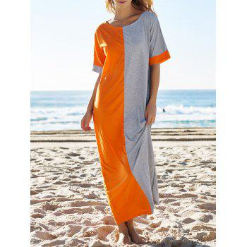 Fashion Round Neck Half Sleeve Color Block Loose Women's Dress