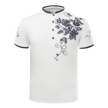 Casual Slim Fit Stand Collar Rose Print Short Sleeve Polo T-Shirt For Men