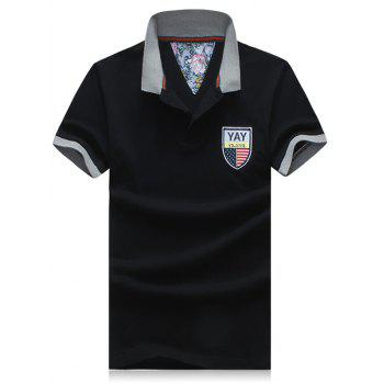 Men's Plus Size Turn-Down Collar Badge Embroidered Color Block Spliced Short Sleeve Polo T-Shirt