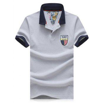 Men's Plus Size Turn-Down Collar Badge Embroidered Color Block Spliced Short Sleeve Polo T-Shirt LIGHT GRAY