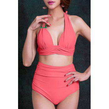 Sweet Women's Halter Neck Solid Color High Waist Bikini Set