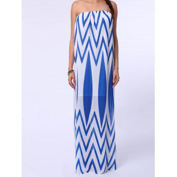 Brief Women's Strapless Zig Zag Belted Dress