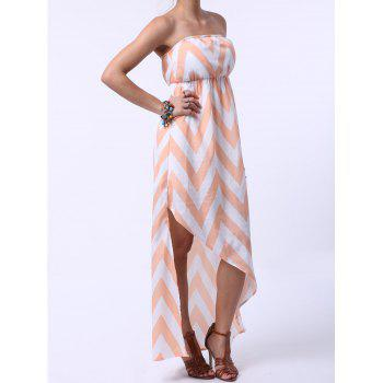 Stylish Women's Strapless Zigzag Maxi Dress