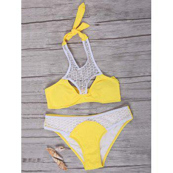 High Neck Crochet Hollow Out Backlesss Bikini Set