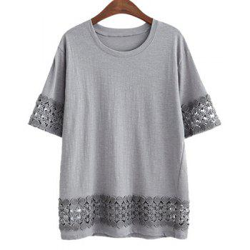 Plus Size Stylish Round Neck Short Sleeve Laciness Loose Women's T-Shirt - GRAY GRAY