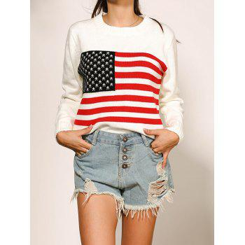 Long Sleeve Flag Pattern Crew Neck Sweater