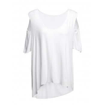 Chic Short Sleeve Scoop Neck Asymmetrical Cut Out Women's T-Shirt