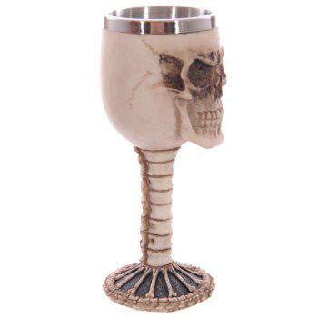 High Quality Home Decoration 3D Resin Skull Shape Stainless Steel Wine Goblet -  APRICOT
