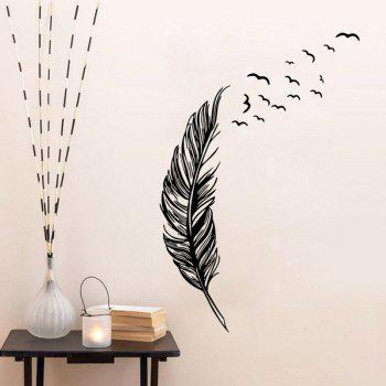 Chic Feather Flying Birds Pattern Wall Sticker For Bedroom Livingroom Decoration - BLACK