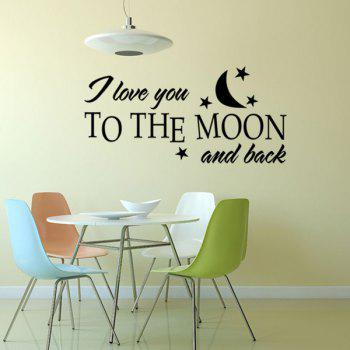 Chic Moon and Letters Pattern Wall Sticker For Bedroom Livingroom Decoration - BLACK