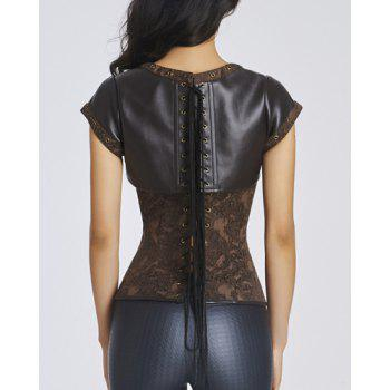 Chic Short Sleeves Stud Embellished Jacquard Women's Bustier - S S
