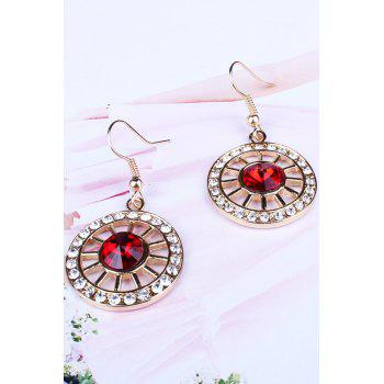 Chic Rhinestone Wheel Necklace and Earrings For Women - RED