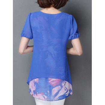 Casual Short Sleeve Scoop Neck Faux Twinset Women's Chiffon Blouse - BLUE 3XL