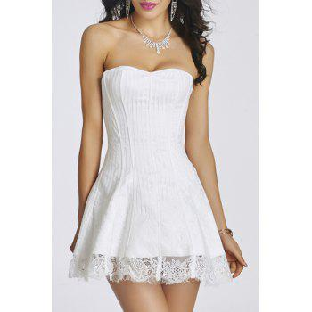 Sweet Strapless Splice Lace Lace-Up Women's Mini Dress