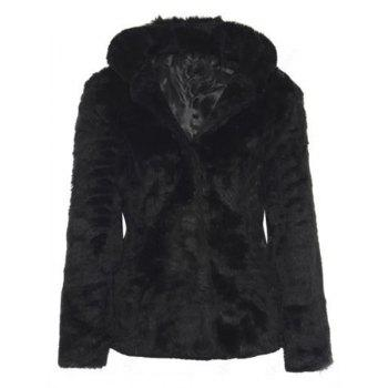 Trendy Women's Hooded Long Sleeve Pure Color Faux Fur Coat