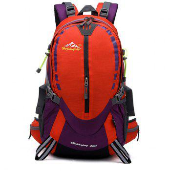 Large Capacity Multifunctional Waterproof Suspended Back Frame Color Block Outdoor Climbing Bag -  RED