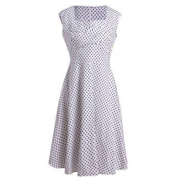 Retro Polka Dot Print Sweetheart Neck Sleeveless Dress For Women