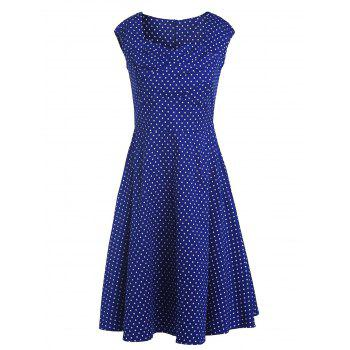 Retro Polka Dot Print Sweetheart Neck Sleeveless Dress For Women - DEEP BLUE 2XL