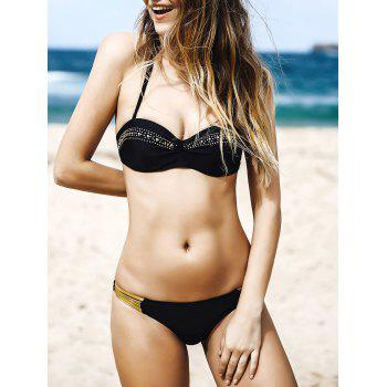 Sexy Halter Rhinestoned Hollow Out Women's Bikini Set - BLACK L